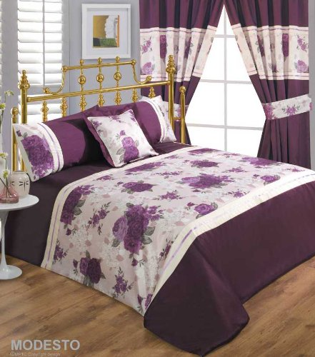 ANNETTE FLORAL PLUM MAUVE DAMASK DUVET SET IN DOUBLE KING SUPERKING OR CURTAINS