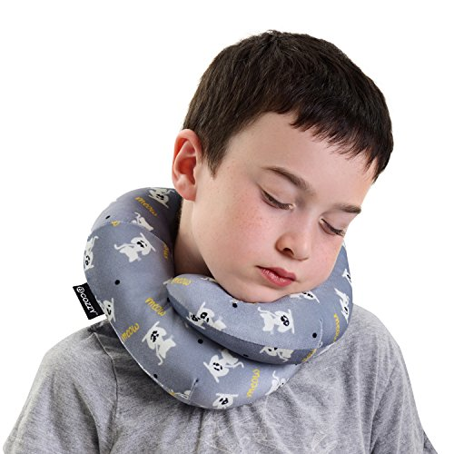 Bcozzy Kids Chin Supporting Travel Neck Pillow   Supports The Head  Neck And Chin In Maximum Comfort In Any Sitting Position  A Patented Product  Child Size  Silver Cats
