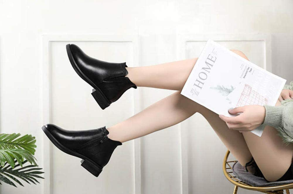 xiaoxiao666 Damenstiefel mit flachem Absatz Einzelstiefel Bequeme Lederstiefel Stiefel mit niedrigen Absätzen-Weiß-A18_38 Schwarz-a17