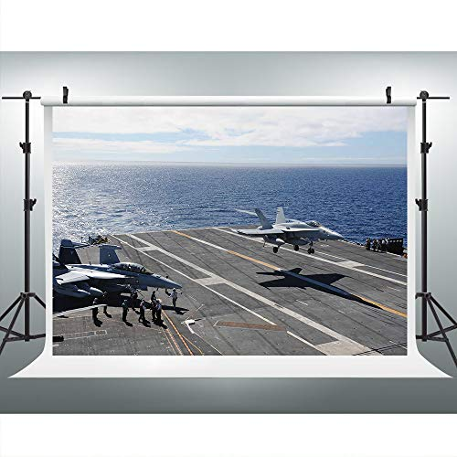 Warcraft Deck Jet Fighter Photography Backdrop for Military Fans Party, 9x6FT, Warship Plane Coast Background, Photo Booth Studio Props LYLU823 ()