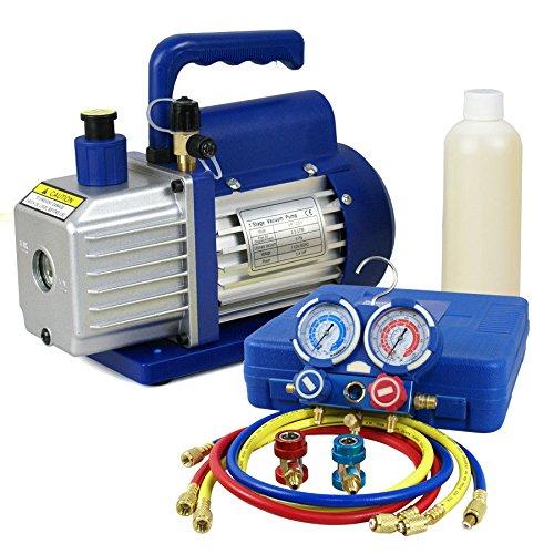 - ZENY 3,5CFM Single-Stage 5 Pa Rotary Vane Economy Vacuum Pump 3 CFM 1/4HP Air Conditioner Refrigerant HVAC Air Tool R410a 1/4 Flare Inlet Port, Blue (3.5CFM Vacuum Pump + Manifold Gauge Set)