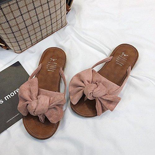 sandali sandali ITTXTTI spiaggia abbigliamento New da infradito Bow 35 Flat estate da donne moda rosa in donna Wild OOZgvndqrw