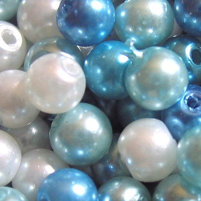 200 pieces 4mm Glass Pearl Beads A0935 Blue Mix