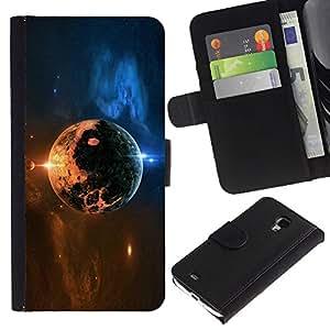 LECELL--Cuero de la tarjeta la carpeta del tirón Smartphone Slots Protección Holder For Samsung Galaxy S4 Mini i9190 -- Space Planet --