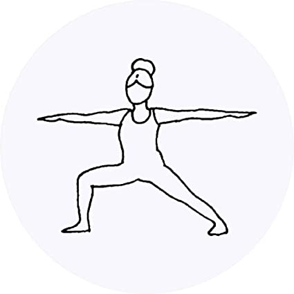Azeeda 24 x 40mm Redondas Pose del Yoga del Guerrero ...