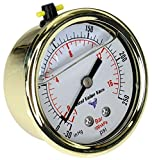 BVV Gold Glycerin Filled Compound Gauge with 1/4 Inch MNPT Stainless Steel Back Mount Connection