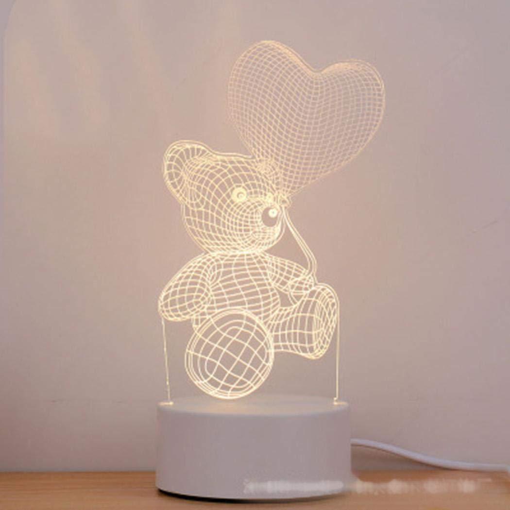 Alokie 3D Illusion Nuit Lumière LED Bureau Table Lampe Maison Chambre Bureau Décor pour Enfants d'anniversaire De Noël Cadeau