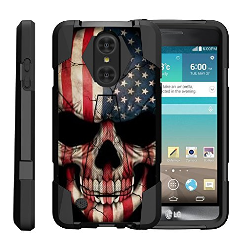 TurtleArmor | LG Aristo Case | LG LV3 Case | LG K8 (2017) Case [Dynamic Shell] Hybrid Dual Layer Hard Shell Kickstand Silicone Case - US Flag Skull