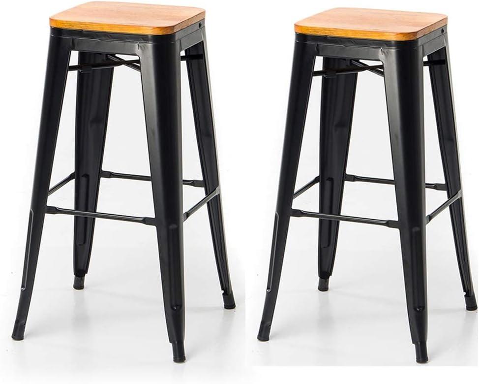 バースツールメタル錬鉄2 - 木製の座席のシート高29.5インチスタッカブル屋内および屋外ホームレストランバーハイスツール (色 : 黒)