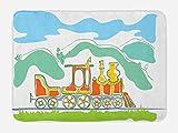 Ambesonne Steam Engine Bath Mat, Colorful Small Old Train Country Retro Kids Art Vintage Cartoon Print, Plush Bathroom Decor Mat with Non Slip Backing, 29.5 W X 17.5 W Inches, Green Blue Orange