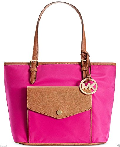 Michael Kors Jet Set Nylon Pocket Tote - Fuchsia/Saddle
