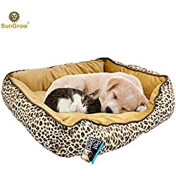 "Cozy and Attractive Leopard Print Pet Bed by SunGrow - Easy to Clean Plush Luxury Lounge Bed - Conveniently sized at 20""x19""x5"" to provide Comfort and Security to Small or Medium Sized Cats and Dogs"