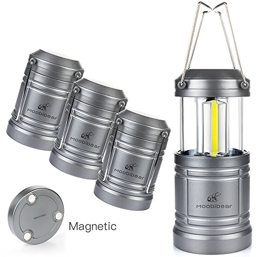 Moobibear 4 Pack LED Camping Lantern Lights Collapsible 500lm COB Technology Camping Lantern Battery Powered Magnetic Base Night, Fishing, Hiking, Emergencies