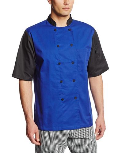 Dickies Men's Color Block Cool Breeze Chef Coat, Royal/Black, 3X-Large
