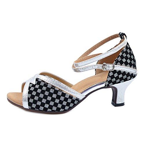 OCHENTA Femme Chaussure Danse Latine Sandales à Petite Talon Noir Argent 5.5 JRQ7j