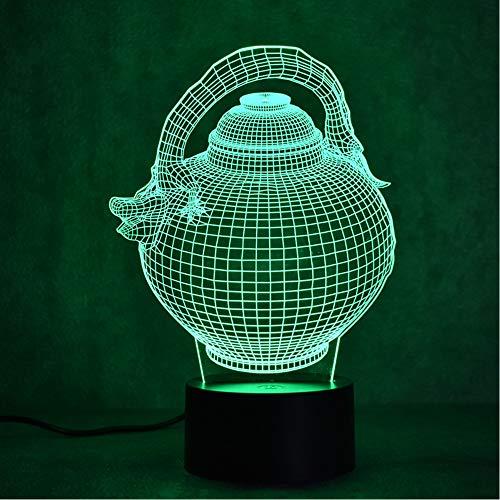 (Shuangklei 3D Led Visual Colorful Gradient Light Fixture USB Table Lamp Fashion Sculpture Night Light Flagon Teapot Lamp Decor Gift)