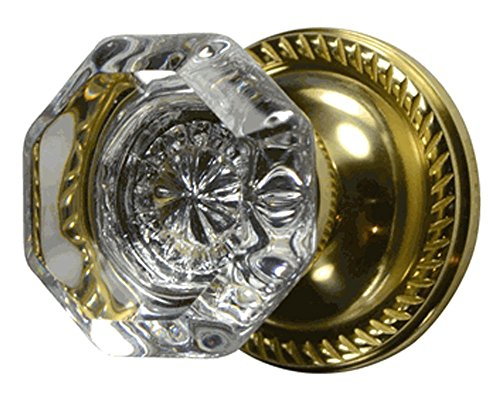 Providence Octagon Crystal Knob with Georgian Roped Rosette in Polished Brass (Double Sided Dummy)