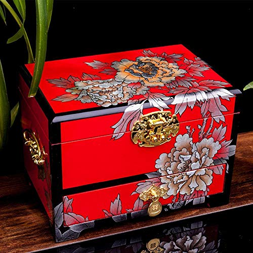 HONGGE Jewellery Box,Lacquered Handmade Jewelry Box Wooden Lock Vintage Jewelry Storage Box 281818cm