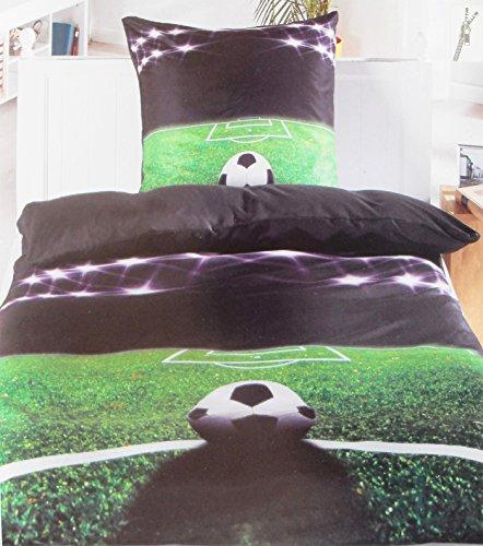 2-tlg. Motiv Bettwäsche Fußball, 135 x 200 + 80x80cm, schwarz grün grau, fotorealistischer Druck, Microfaser