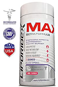 Best Fat Burners that Work - Liporidex MAX Weight Loss Supplements - Appetite Suppressant Pills Increase Energy, Reduce Belly Fat, Reduce Appetite, and Lose Weight Fast