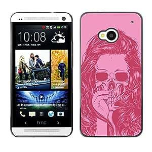 Shell-Star Arte & diseño plástico duro Fundas Cover Cubre Hard Case Cover para HTC One M7 ( Girl Vignette Pink Art Hair Skull )