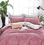 modern cotton quilt - Minimal Style Geometric Shapes Duvet Quilt Cover Modern Scandinavian Design Bedding Set 100-percent Cotton Soft Casual Reversible Block Print Triangle Pattern (King, Dusty Berry)