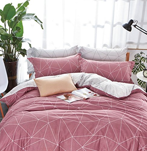 Dusty Pink Cotton (Minimal Style Geometric Shapes Duvet Quilt Cover Modern Scandinavian Design Bedding Set 100-percent Cotton Soft Casual Reversible Block Print Triangle Pattern (Queen, Dusty Berry))