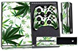 Cheap Designer Skin Sticker for the Xbox One Console With Two Wireless Controller Decals Weeds White