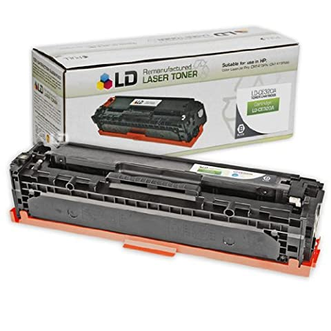 LD © Remanufactured Replacement Laser Toner Cartridge for Hewlett Packard CE320A (HP 128A) Black for use in the Color LaserJet CM1415fnw, CP1525wn & CP1525nw (Hp Print Cartridge Ce320a)