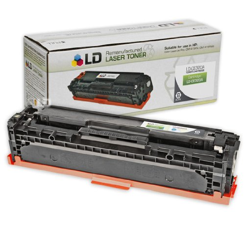 LD Remanufactured Replacement Laser Toner Cartridge for Hewlett Packard CE320A (HP 128A) Black for use in the Color LaserJet CM1415fnw, CP1525wn & CP1525nw Printers (Black Cartridge Hp Ce320a)