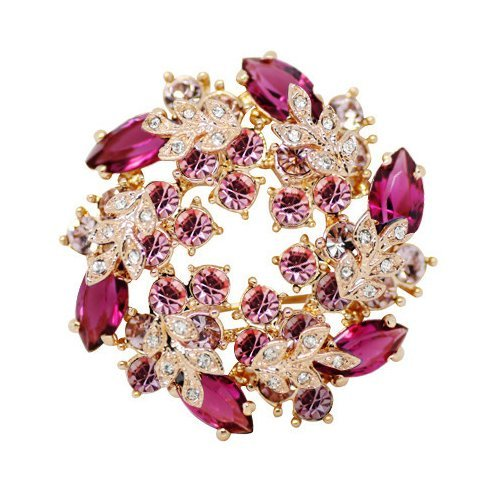 Silver Shoppee Immaculate 22K Yellow Gold Plated Swarovski Crystal Alloy Elegant Fancy Wedding Brooch Pin for Girls and Women