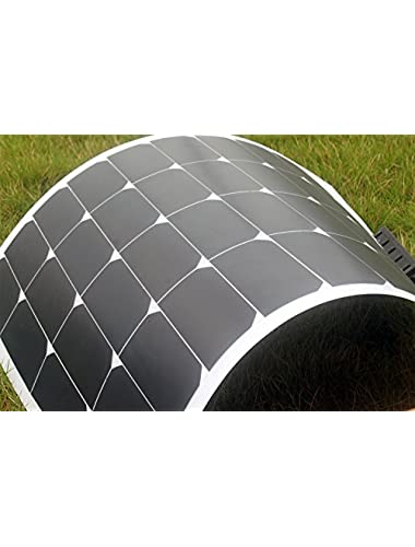 SUNDELY   50W Portable Light Weight Semi-flexible Monocrystalline Solar Panel Charger for 12V Battery Yacht Caravan Cable MC4 Connectors