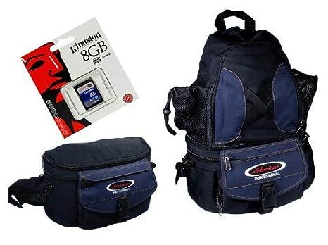 Bolso y Mochila para cámaras de Fotos (Incluye Tarjeta SD de 8 GB)