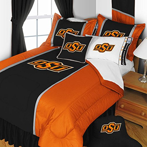5pc NCAA Oklahoma State Cowboys King Bedding Set College Team Logo Comforter and Sheet Set Oklahoma State Sheet