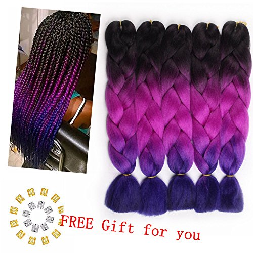 Jiayi Kanekalon Ombre Braiding Hair Afro Synthetic Jumbo Braiding Hair Extension Twist Hair Multiple Tone Colored Braiding Hair (Black to Purple Red to Royal Blue))