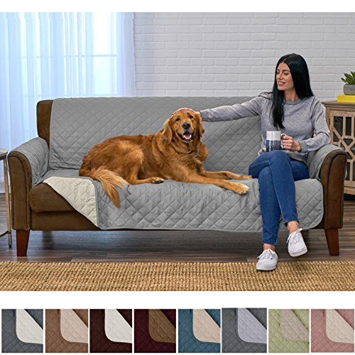 Home Fashion Designs Deluxe Reversible Quilted Furniture Protector and PET Protector. Two Fresh Looks in One. Perfect for Families with Pets and Kids Brand. (Sofa/Couch, Storm Grey) by Home Fashion Designs