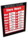 NuDell 37085BH Magnetic Business Hours Sign Holder, 8.5'' x 11'', Black