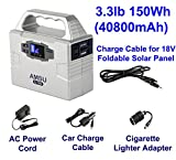 3.3lb 100W(Peak 200W) Portable Solar Generator (UPS, Power Inverter) - 40800mAh 150Wh Battery - Solar/AC/Car Charging Cable - 2 AC & 3 DC 12V & 2 USB Ports