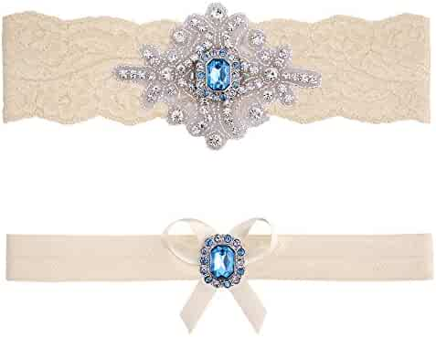 efafffb4654 Contessa Garters Wedding Garter Belt Blue Ivory White Lace Bridal Set