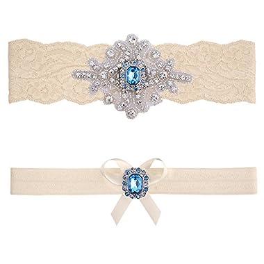 Blue Topaz Wedding Bridal Garter Set (Large (20  - 21 ), Ivory Lace)