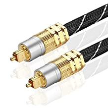 TNP Premium Gold Plated Toslink Digital Optical Audio Cable (3 Feet) with Metal Connectors and Braided Jacket