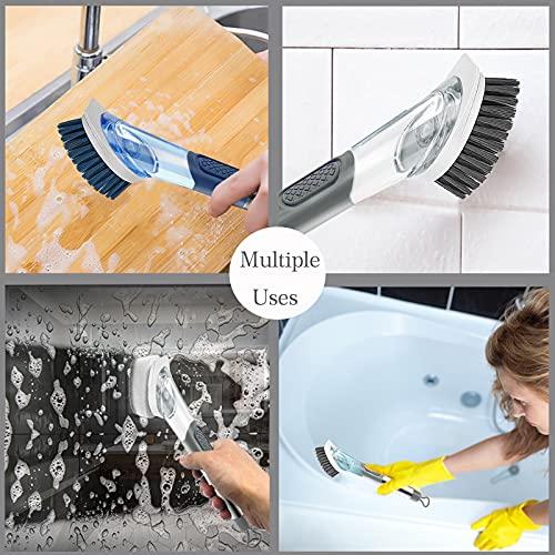 Allcleaner Dish Brush Soap Dispensing Dish Brush Kitchen Scrub Brush for Dish 2 Replacement Brush Heads Soap Control Dish Wand Reusable Dish Washing Brush Scrubber (Grey)
