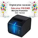 """3 1/8"""" 80mm Thermal Receipt Printer, MUNBYN Printer with Auto Cutter USB Serial LAN Port with Sound and Light Alarm to Avoid Order Missing ESC/POS Compatible with Windows Mac POS System Cash Drawer"""