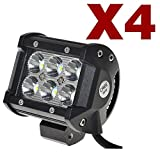 KAWELL® 4-Pack 18w 1260 Lm Cree Spot Led Work Light Bar LED Off Road LED Work Light Worklamp Spot Beam ATV SUV Jeep Mine Boat Lamp (Pack of 4)