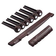 Kmise Z4970 Set Acoustic Guitar Saddle Nut Bridge Pins Plastics, Coffee