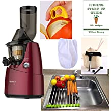 Kuvings Whole Slow Juicer RED Pearl Combo Pack 3 + Folding Drain Rack + Nut Milk Bag + Juicing eBook,recipes + Cocodrill Coconut Tool + Citrus Peeler - Heavy Duty Vertical Single Auger Low Speed Juicing B6000PR