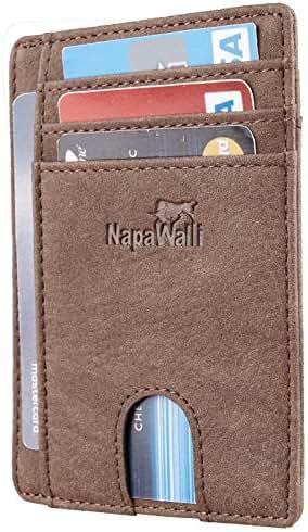 NapaWalli RFID Blocking Minimalist Genuine Leather Slim Front Pocket Wallet U