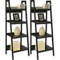 Home Indoor or Outdoor Altra Metal Black Ladder Bookcase Bundle Set of 2 Furniture Frame 4 Shelf Lawrence New Shelves Storage Bookcases, Black with Bookcase dimensions: 60L x 20.5W x 18.5H