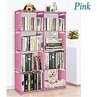 Bookcase 8-Cubes DIY Organizer Open Plastic Storage Cabinet