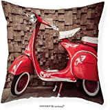 """VROSELV Custom Cotton Linen Pillowcase Vintage Retro Motorcycle Nostalgic Scooter in front of Vehicle Traffic Urban Picture for Bedroom Living Room Dorm Red Umber 28""""x28"""""""